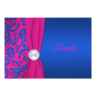 Cobalt and Fuchsia Damask RSVP Card Personalized Invite