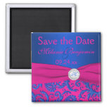 Cobalt and Fuchsia Damask Save the Date Magnet