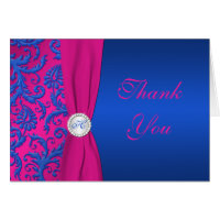 Cobalt and Fuchsia Damask Thank You Note Card