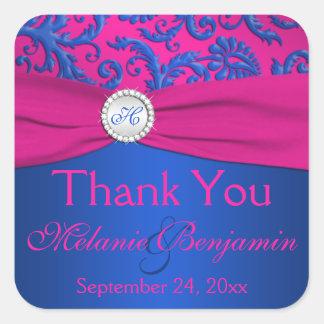 Cobalt and Fuchsia Damask Wedding Favor Sticker