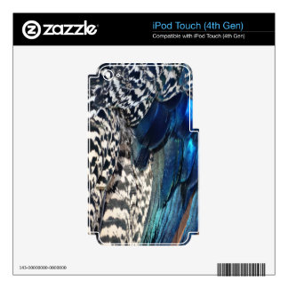 Cobalt and Ruffles Peacock Decal For iPod Touch 4G
