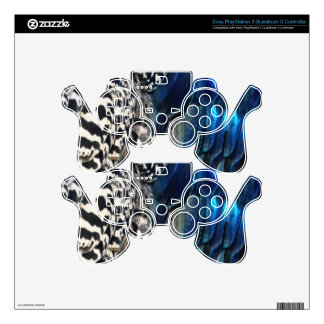 Cobalt and Ruffles Peacock PS3 Controller Decal