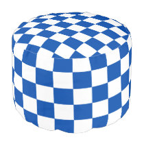 Cobalt and White Checked Pouf
