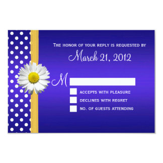 Cobalt and Yellow Daisy Wedding RSVP Card