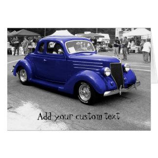 Cobalt Blue 1940s Hot Rod Custom Greeting Card