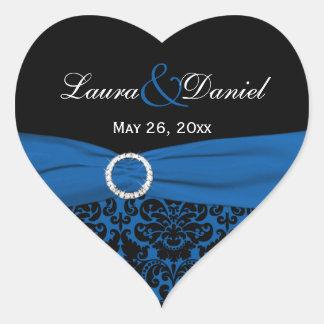 "Cobalt Blue and Black Damask 1.5"" Heart Sticker"