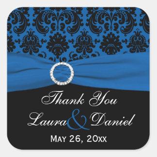 """Cobalt Blue and Black Damask 1.5"""" Square Sticker"""