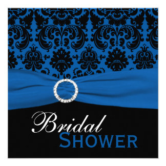 Cobalt Blue and Black Damask Bridal Shower Invite