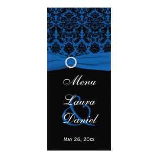 Cobalt Blue and Black Damask Menu Card Custom Rack Card