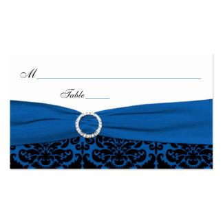 Cobalt Blue and Black Damask Place Cards Business Card