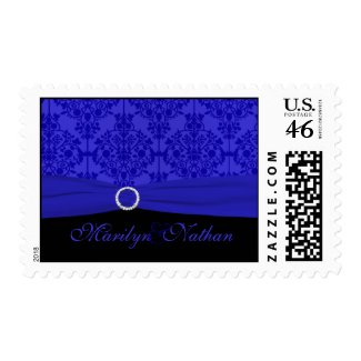 Cobalt Blue and Black Damask Postage stamp