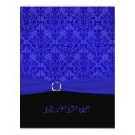 Cobalt Blue and Black Damask RSVP Card Invites