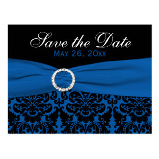 Cobalt Blue and Black Damask Save the Date Card
