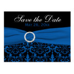 Cobalt Blue and Black Damask Save the Date Card Post Cards