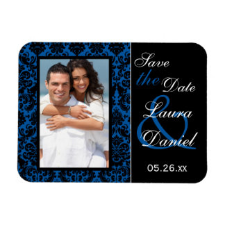 Cobalt Blue and Black Damask Save the Date Magnet