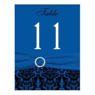 Cobalt Blue and Black Damask Table Number Postcard
