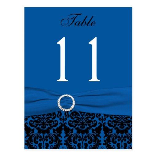 Cobalt Blue and Black Damask Table Number Postcards