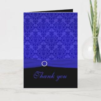 Cobalt Blue and Black Damask Thank You Card card
