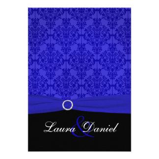 Cobalt Blue and Black Damask Wedding Invitation