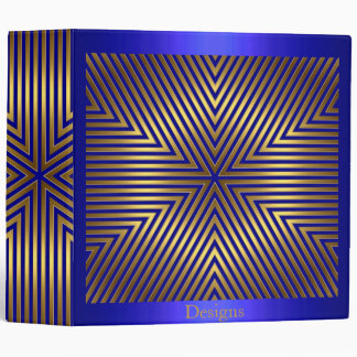 Cobalt Blue and Gold Metal Stripes Binder