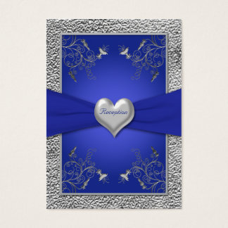 Cobalt Blue and Pewter Heart Enclosure Card