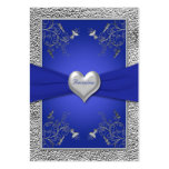 Cobalt Blue and Pewter Heart Enclosure Card Business Card Template