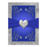 Cobalt Blue and Pewter Heart Monogram Invitation