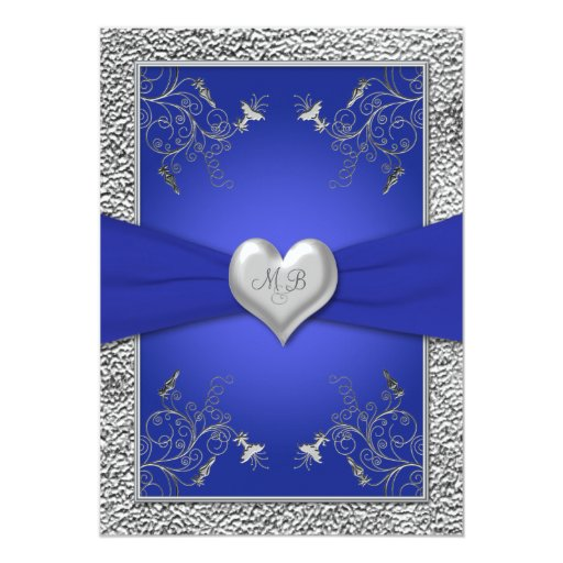 "Cobalt Blue and Pewter Heart Monogram Invitation 5"" X 7"" Invitation Card"