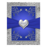 Cobalt Blue and Pewter Heart RSVP Card Custom Announcements