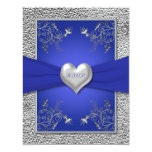 "Cobalt Blue and Pewter Heart RSVP Card 4.25"" X 5.5"" Invitation Card"