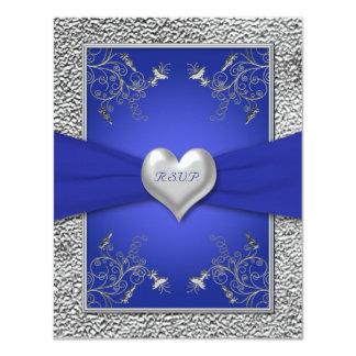 Cobalt Blue and Pewter Heart RSVP Card
