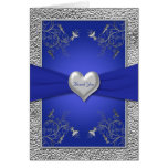 Cobalt Blue and Pewter Heart Thank You Card Greeting Cards