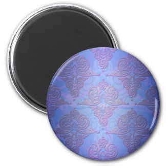 Cobalt Blue and Purple Swirly Damask 2 Inch Round Magnet