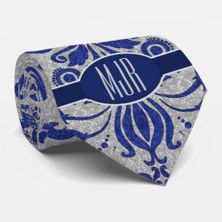 Cobalt Blue and Silver Damask Monogram Tie