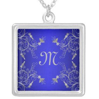Cobalt Blue and Silver Floral Monogram Necklace