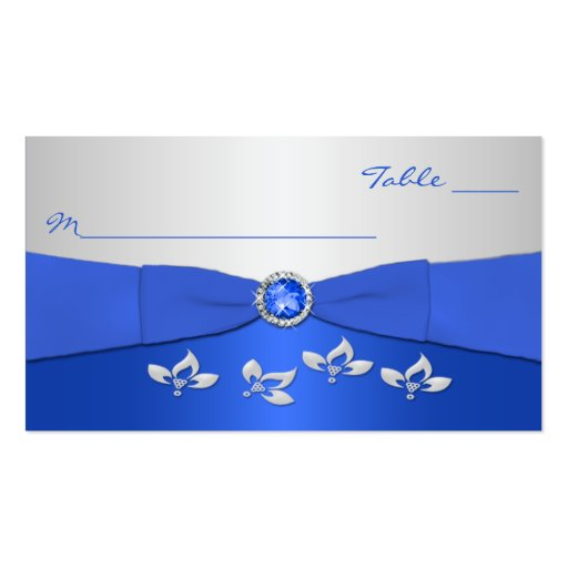 Cobalt Blue and Silver Floral Placecards Business Card Templates