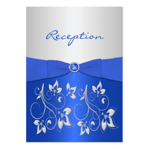 Cobalt Blue and Silver Floral Reception Card Business Card Templates