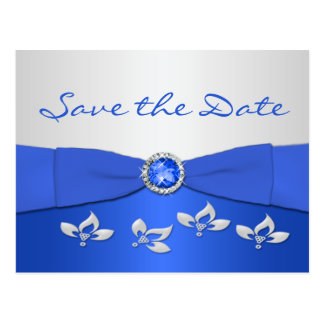 Cobalt Blue and Silver Floral Save the Date Card