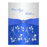 Cobalt Blue and Silver Floral Wedding Invitation