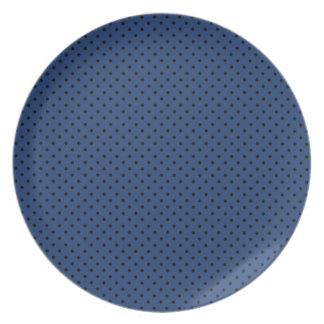 Cobalt Blue And Small Black Polka Dots Pattern Party Plates