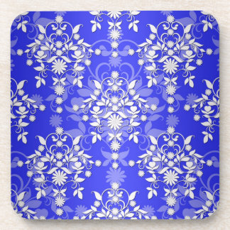 Cobalt Blue and White Daisy Floral Damask Coaster