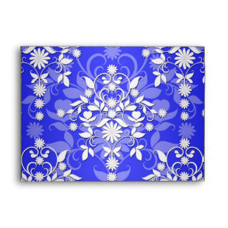 Cobalt Blue and White Daisy Floral Damask Envelopes