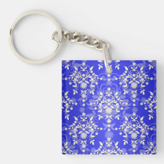 Cobalt Blue and White Daisy Floral Damask Single-Sided Square Acrylic Keychain