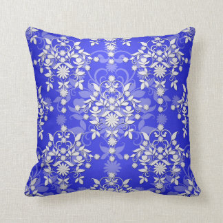 Cobalt Blue and White Daisy Floral Damask Throw Pillow