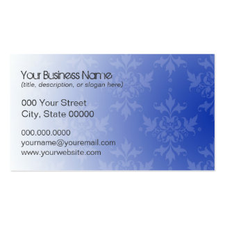 Cobalt Blue and White Damask Double-Sided Standard Business Cards (Pack Of 100)