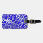 Cobalt Blue and White Floral Pattern Bag Tags