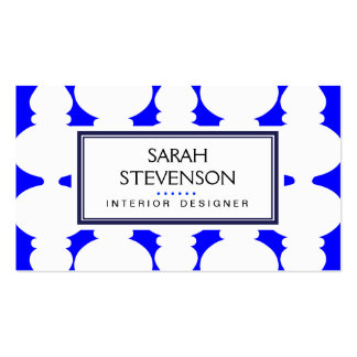 Cobalt  Blue and White Interior Design Modern Hip Business Cards