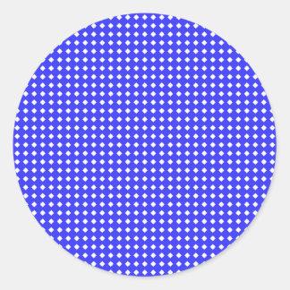 Cobalt Blue and White Little Diamonds Pattern Classic Round Sticker