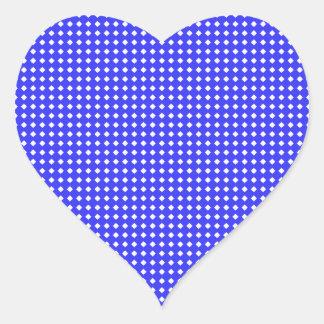 Cobalt Blue and White Little Diamonds Pattern Heart Sticker