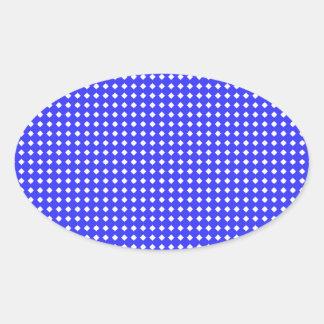 Cobalt Blue and White Little Diamonds Pattern Oval Sticker